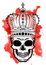 Line art hand drawing black skull with crown on had isolated on white background with red watercolor blots. Dudling