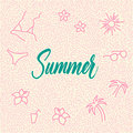 Line-art hand-drawn doodle with modern calligraphy word Summer!