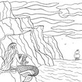 Line art hand drawn sketch dreamy mermaid on the stone and sailboat in the sea.Coloring outline illustration