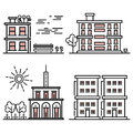 Line art houses collection - city objects with nature elements