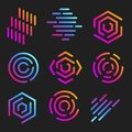 line art logos templates. Abstract linear logotypes. Colorful geometric icons collection. Outline innovate