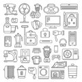 Line art style flat graphical set of home kitchen electronic device web site mobile app icons. Climate computer sewing washing cof Royalty Free Stock Photo