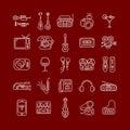 Line Art Vector Icon Set Royalty Free Stock Photo