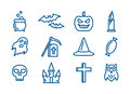 Line art vector icons set for Halloween