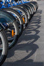 Line of blue bicycles Royalty Free Stock Photo
