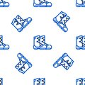 Line Boots icon isolated seamless pattern on white background. Colorful outline concept. Vector.