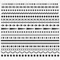 Line border, geometric, dotted vector dividers set. Trendy hipster style brushes