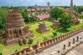 Line of buddha statue in Wat Yai Chaimongkol , Ayutthaya , Thailand. Royalty Free Stock Photo