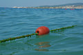 Line buoy on the sea close up Stock Image