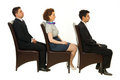 Line of business people on chairs Royalty Free Stock Photos