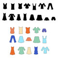 Line clothing icons and dress silhouettes. Royalty Free Stock Photo