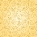 Line cockleshells seamless pattern on the yellow vector background Royalty Free Stock Photos