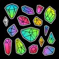 stock image of  Line color neon gradient crystals stickers isolated on black background