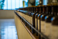Line of corked bottles Royalty Free Stock Photo