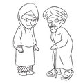 Line Drawing of Elderly Malay Cartoon -Character Vector