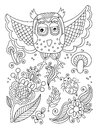 Line drawing of forest elements - owl, flowers, mushrooms, berri Royalty Free Stock Photo