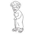 Line Drawing of Malay Grandfater Cartoon -Character Vector