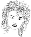 Line drawing portrait Royalty Free Stock Photo