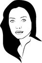Line drawing of a portrait of asian woman
