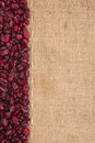 Line dried cranberries and burlap for the menu can be used as background Stock Photos