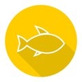 Line Fish icon with long shadow