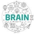 Line Flat Circle illustration brain