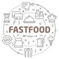 Line Flat Circle illustration fastfood