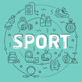 Line Flat Circle illustration sport Royalty Free Stock Photo