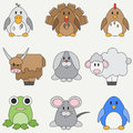 Line flat color vector icon set with cute animals for baby products. Cartoon style. Childrens doodle. Babyhood. Newborn Royalty Free Stock Photo