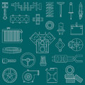 Line flat vector icon car parts set with undercarriage end internal combustion engine elements. Industrial. Cartoon Royalty Free Stock Photo