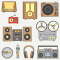 Line flat vector icon set with retro electrical audio devices. Analog broadcast. Music fan. Cartoon style. Nostalgia