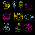 Line food icons Royalty Free Stock Photography
