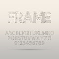 Line framework font and digit eps vector editable for any background Stock Images
