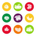 Line fruit icon set Royalty Free Stock Photo