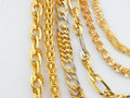 Line of gold chains Royalty Free Stock Photo