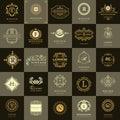 Line graphics monogram. Vintage Logos Design Templates Set. Business sign Letter emblem. Vector logotypes elements collection, Ico