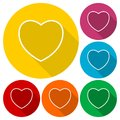 Line Heart icons set with long shadow