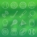 Line icon set of sports equipment