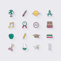 Line icons set in flat design. Elements of School and Education.