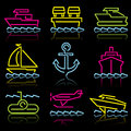 Line icons water trans Royalty Free Stock Images