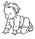 Line illustration of a baby drawing Stock Photos