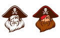Line illustration of a bearded pirate captain Stock Images