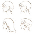 Line illustrations of a beautiful woman Royalty Free Stock Photos