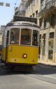 Line lisbon tramway traveling in the tram portugal Stock Images