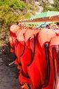 Line of orange life jackets Royalty Free Stock Photo