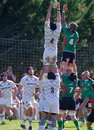 Line out lineout during a friendly match opposing the leicester tigers and krasny yar rc Royalty Free Stock Image