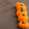Line of pumpkins with perspective Royalty Free Stock Photo