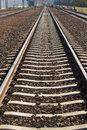 Line of railway track close up iron Royalty Free Stock Photography
