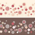 Line seamless with round flowers Stock Photo