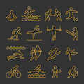 Line  shapes athletes. Icon and symbols for popular sports Royalty Free Stock Photo